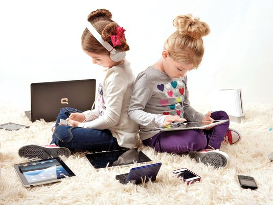 Kids with many technology options