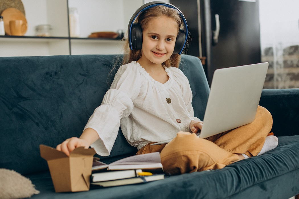 child going through remote learning