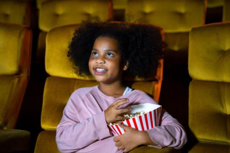 child watching movie