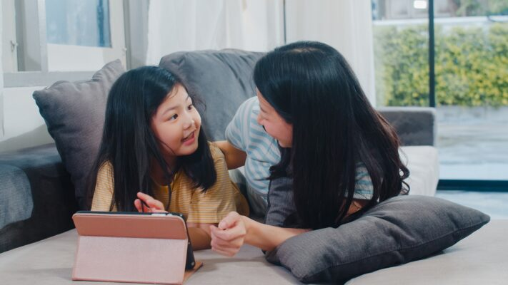 Family watching video